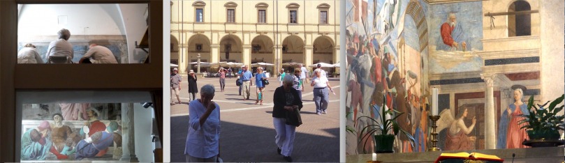 Crowds at The Resurrection, at The Annunciation, and filling the piazza in Arezzo